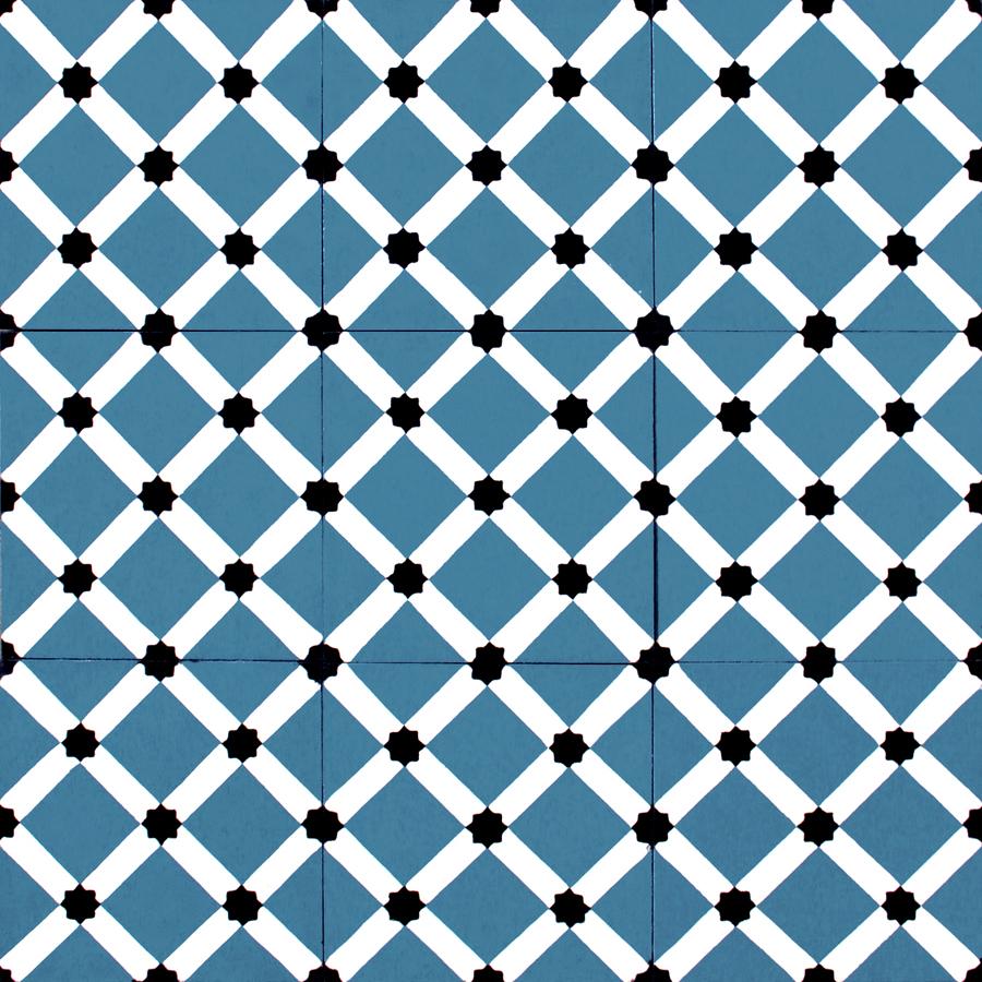 Carreaux de ciments dessins motifs colorisation sur mesure havana bleu collection - Carreaux adhesif salle de bain ...